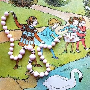 Jewelry - Vintage Pink Milk Glass Graduated Bead Necklace
